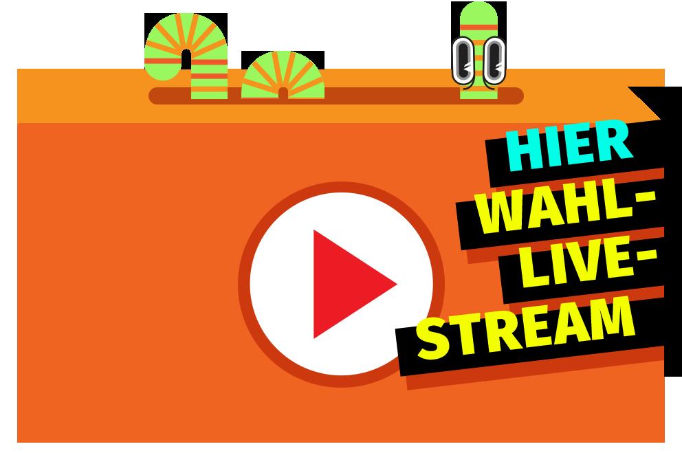 Eine orange Box mit Playzeichen auf der steht Hier Wahl Live Stream.
